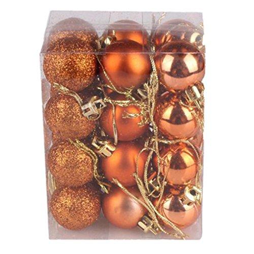 BURFLY 30mm Weihnachtsbaum Kugel Flitter hängende Home Party Ornament Dekor 24 STÜCKE (Orange)