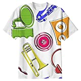 Snoogg Colorful Music Set Mens Casual All Over Printed T Shirts Tees