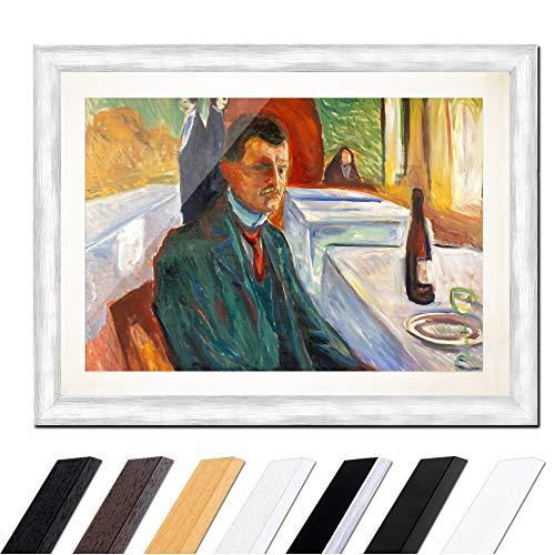 Kostüm Expressionistische - Bild mit Rahmen - Edvard Munch Selbstbildnis mit Weinflasche 40x30cm ca. A3 - Gerahmter Kunstdruck inkl. Galerie Passepartout Alte Meister - Rahmen Silber