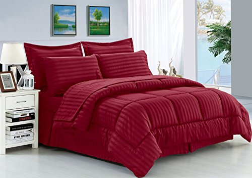 ELEGANCE Bettwäsche knitterfrei–Luxus seidig weich Dobby Stripe bed-in-a-bag 8-teilig Tröster Set–-hypoallergenic–Full/Queen, burgund