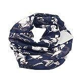GreatestPAK Damen Loop Schal Printed Pocket Zip Schal,Marine