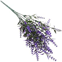 Gazechimp Ramas de Lavanda Plantas Flores Artificiales de Decoración de Hogar Boda Jardín - Púrpura Oscura