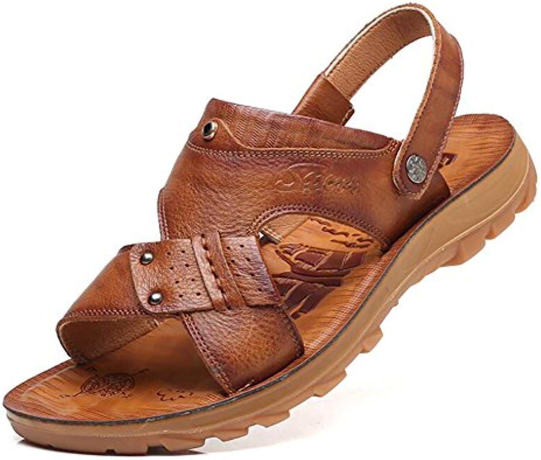 YaXuan Mens Echtes Leder Sandalen Slip on Freizeitschuhe für Holiday Beach Sommer im Freien Walking Open Toe Sandalen