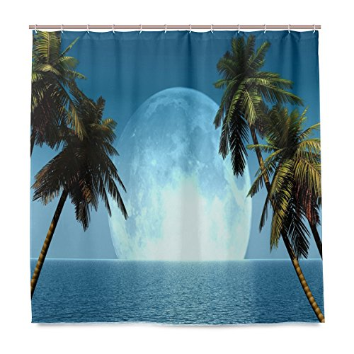 ShineSnow Badezimmer Dusche Vorhang Palm Baum mit Mond Design Haltbarer Stoff Bad Vorhänge Schimmelresistent Wasserdicht Badezimmer mit 12Haken 183,0cm x183,0cm