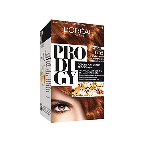 L'Oréal Paris Prodigy Colorazione Permanente, 6.45 Caramello Castano Chiaro Mogano Ramato