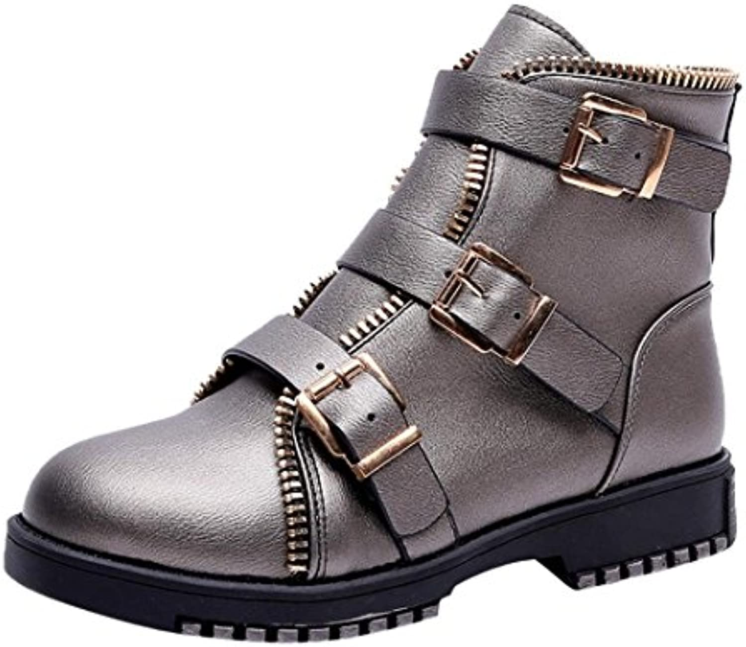 Bottes Femme,Beauty Top Femmes Vintage Round Toe Casual Flat Buckle Strap Casual Toe Cuir Martin Chaussures Automne Cheville...B07G34B71HParent 0da1cf