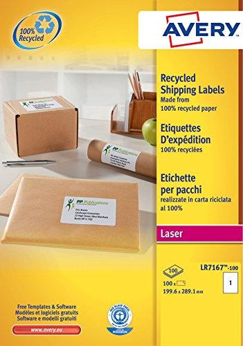 Avery LR7167-100 Etichette Riciclate per Indirizzi