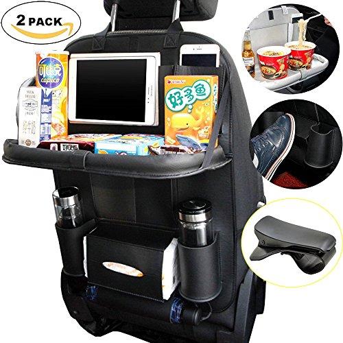 Preisvergleich Produktbild Auto Sitz Organizer -SEAMETAL Bildschirm Berührbar iPad Mini Halter Multi-Tasche Auto Sitz Lagerung Beutel Auto Falten Esstisch Auto Sitz Rücken Rücken (Black 2)