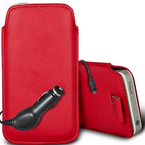 Brun/Brown - Xiaomi Mi 2S Housse deuxième peau et étui de protection en cuir PU de qualité supérieure à cordon avec stylet tactile par Gadget Giant® Rouge/Red & Car Charger