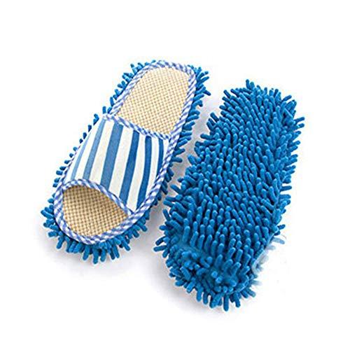 TrifyCore Chenille Slipper Haus Bohner Abstauben Füße reinigen Socken Schuhe Mop Hausschuhe Multi-Oberflächenreiniger Staubreinigung 1pair Schuhe (blau), praktische Haushaltshelfer Open Toe Holz