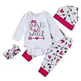 feiXIANG Ropa para niños bebé recién Nacido bebé niña Imprimir Mono Top + Pants + Hat + Hair Band Conjunto de Ropa Unisex Mono de bebé Mono Mono de bebé recién Nacido Navidad