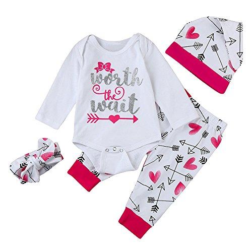 51d99b634559 feiXIANG Ropa para niños bebé recién Nacido bebé niña Imprimir Mono Top +  Pants + Hat + Hair Band Conjunto de Ropa Unisex Mono de bebé Mono Mono de  ...