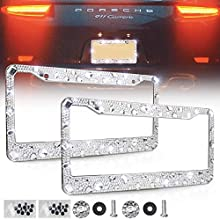 2Pcs License Plate Cover Frame, Irregular Sliver Bling Crystal Premium Stainless Steel License Plate Frame with Mounting Screws perfect Car Accessories for All Standard Plate Size