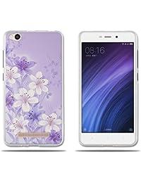 "Funda Xiaomi Redmi 4a Carcasa Ultra Fino de Cristal Claro, Elegante Modelo de Flor Púrpura, Duradera, Suave, Flexible, [Antipolvo] [Resistente A los Arañazos] [Protección con Goma de Alta Calidad] Funda para Xiaomi Redmi 4a (5.0"")"