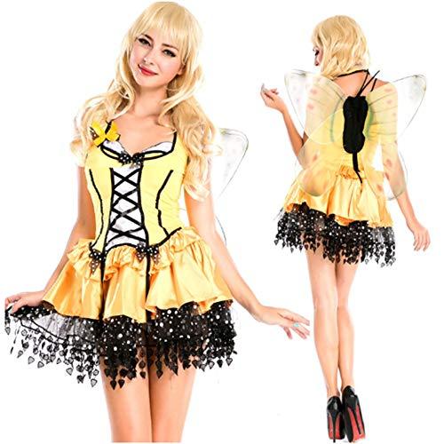 TUWEN Halloween KostüM Engel Gelbe Biene Halloween Weiblichen Erwachsenen KostüM Cosplay Nachtclub Nachtbar Leistung KostüM (Biene Weibliche Kostüm)