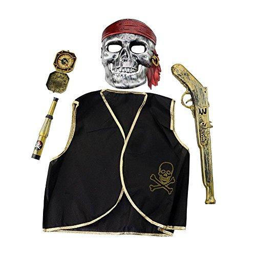 LAEMILIA Kinder Fluch der Karibik Jacke Hut Gewehr Maske Set Halloween Pirat Kostüm Fasching Karneval 5 Teilig (Kostüme Karibik Der Halloween Piraten)