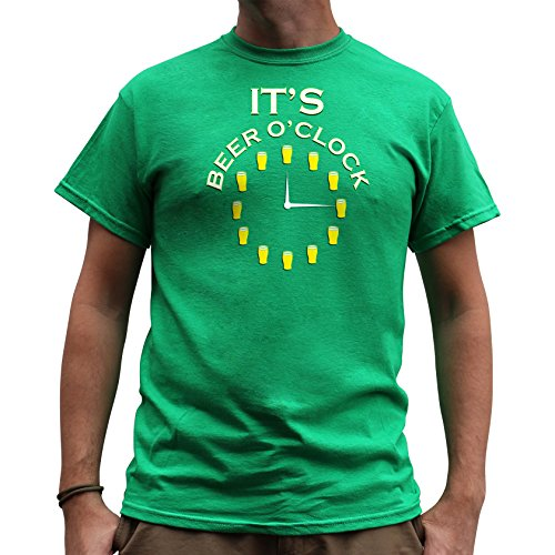 Nutees It's Beer O'clock Pub Drinking Stag Do Funny Herren T Shirt - Irish Grün XX-Large