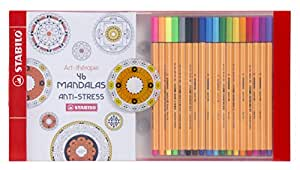 STABILO Coffret Anti-Stress - 18 stylos-feutres pointe fine point 88 + un carnet de 46 coloriages (Édition Mandala)