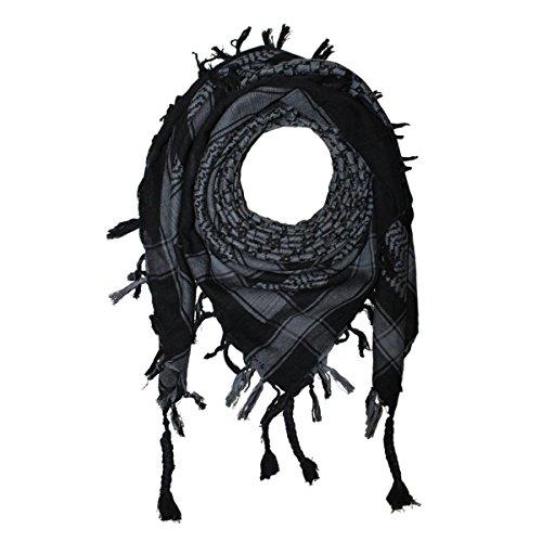 Shemagh 100x100cm 100% Baumwolle schwarz/grau