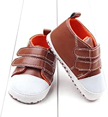Seajol Baby Shoes for boy 6-12 Months Velcro PU Waterproof Shoes