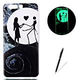 LG K8 2017 Case Luminous Silicone Cover [with Free Black Touch Stylus] KaseHom Stylish Watercolor Pattern Design Noctilucent Green Effect Night Glow in The Dark Jelly Clear Rubber TPU Gel Skin Scratch Resistant Flexible Ultra Slim Fit Protective Case Bumper Shell for LG K8 2017 - Beauty and Scarecrow