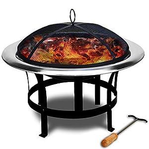 Feuerstelle Edelstahl - Grillstelle Feuerschale Grillschale Feuerkorb mit Funkenfluggitter und Feuerhaken