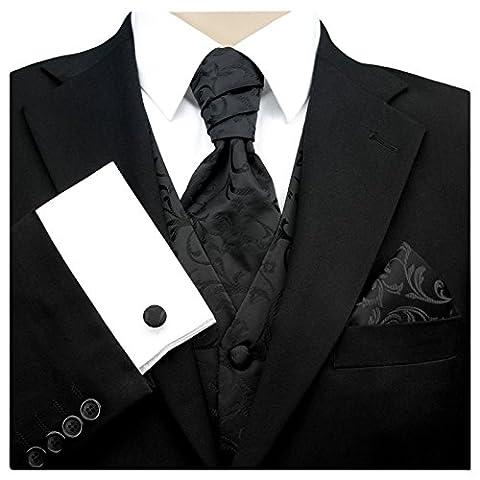 3- SET Schwarzes Plastron & Einstecktuch Manschettenknöpfe-Krawatte Binder zum Anzug