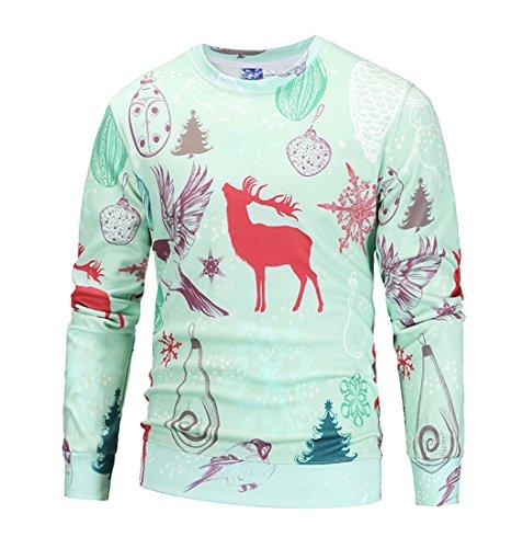 Honeystore Unisex Weihnachtsshirt Christmas 3D Druck Sweatshirt Casual Langarm Rundhals Pullover Drucken Weihnachten T-Shirts mit 3D Druckmuster Davidshirsch Grün (Elf Kostüme Ebay)