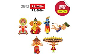 Toiing CrafToi Combo-3D DIY Paper Craft Kit Toy for Indian Festivals-(Multicolour)-Pack of 6