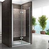 Einzelfalttür Falttür Duschtür Duschabtrennung Klarglas 6mm ESG Sicherheitsglas - alle Größen (96-100cm)
