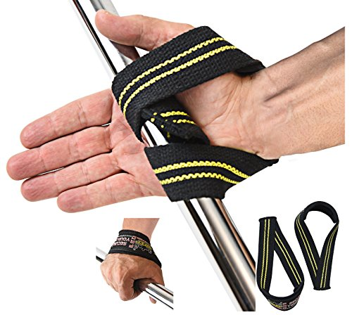 Triangle Lifting Straps Heavy Duty Neoprene Padded 1 Pair Cotton Wrist Wraps Grip Support Straps Grip Pad Pads (Black and Yellow, One Size)