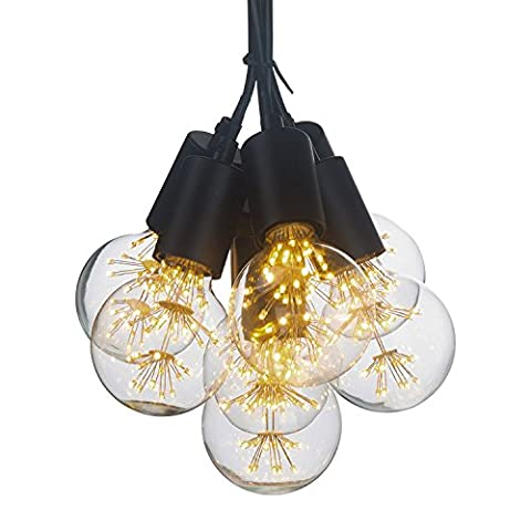 YUENSLIGHTING Vintage Multi Barn Ceiling Pendant Lamp Kit E27 Max 280W With 7 Lights Lamps Black Painted Finish Base Lampe without LED Light Bulb Fitting for Bedroom, Living, Dining