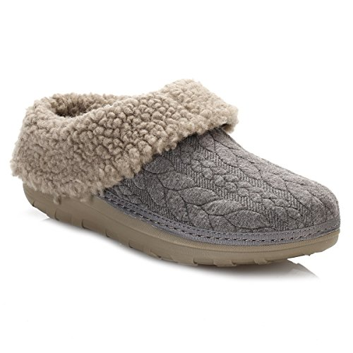 Fitflop  Loaff Quilted Slippers, Ouvertes à l'arrière femme Gris (anthracite)