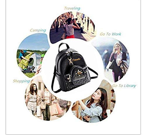 Alice Fashion Girls Bowknot 2-PCS Fashion Backpack Cute Mini Leather Backpack Purse for Women Image 5
