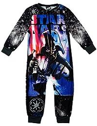 Niño Star Wars Darth Vader Frente Y Parte Posterior Estampado Microfleece Pijama Enterizo tallas desde 2 a 8 Años