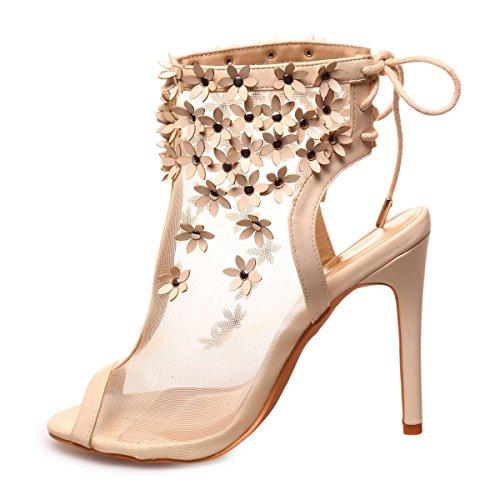 La Modeuse - Peep toes en simili cuir avec ouverture à l'arrière Beige