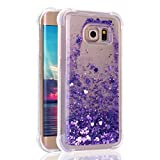 Coque Galaxy S6 Edge Liquide Sables Mouvants, Etui Samsung S6 Edge Case, Moon mood Souple TPU Silicone Transparent en Paillette Bling Housse de Protection pour Samsung Galaxy S6 Edge G9250 Arrière Étui Anti choc Slim Quicksand Case Cover Hull Paillettes Glitter Brillantes Crystal Strass Téléphone Etui Coque pour Samsung Galaxy S6 Edge