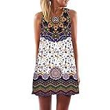 TUDUZ Damen Sommer Vintage Boho Ärmelloses Sommerstrand Gedruckt Kurzes Minikleid Blumenkleid T-Shirt Tops Kleider-Faschingskostüme (Weiß -O, S)