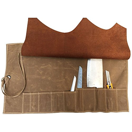 Handmade Multi-Purpose Waterproof Waxed Canvas Chef's Knife Storage Bag Wallet Case Roll Pouch With 10 Pockets Leather Cover Flap & Wrap String (HGJ03-C)