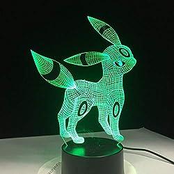 Pokemon Umbreon 3D Acryl Nachtlicht Usb Schlaf Licht 3Aa Batterie 7 Farben ändern Tischlampe Schlafzimmer Dekor Kinder Geschenk