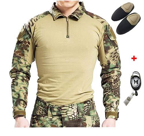 H Welt EU Taktisches Jagd Militär Langarm Shirt mit Ellenbogen Pads (MR, L) Camo Propper Bdu Shirt