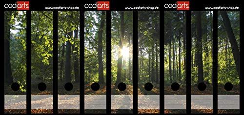 Set 9 Stück breite Ordner-Etiketten selbstklebend (Ordnerrücken Aufkleber Sticker) Sonnenstrahlen, Natur, Sonne im Wald, Sonnenuntergang auf Waldlichtung