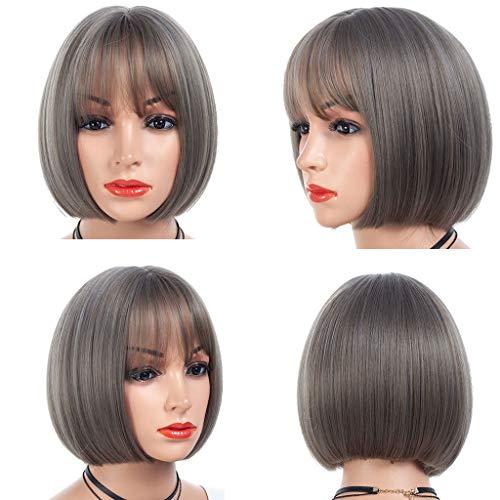 Kashyk Damenperücke, seidig, kurz, Bob, Grau, glattes Haar, mit Luftknallen, seidig und weich, hitzebeständige Faser, stilvoll, hohe Qualität für Teenager- und ()