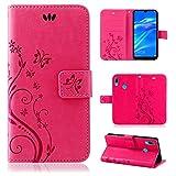 betterfon | Flower Case Handytasche Schutzhülle Blumen Klapptasche Handyhülle Handy Schale für Huawei Y7 2019 Pink