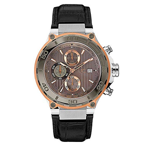 Men's Black Gc Watch Chic Chronograph Strap Leather Bold Swiss X56007g1s Sport Quartz With Collection Guess nwO0v8Nym