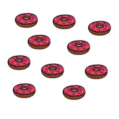Kostüm Kleid Donut - 10X Toruiwa Patches Bestickte Aufnäher Patches Nähen Patch Sticker Applique Badge für Kleid Hut Schuhe Jeans DIY Kostüm Schmücken (Donut)