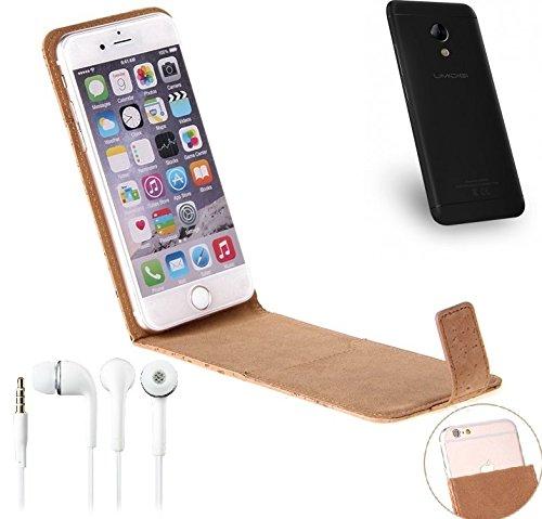 K-S-Trade Für UMIDIGI C2 Korkhülle Flipstyle Case Schutzhülle für UMIDIGI C2 + Kopfhörer, Kork Case Hülle Flip Cover Smartphone Tasche für UMIDIGI C2