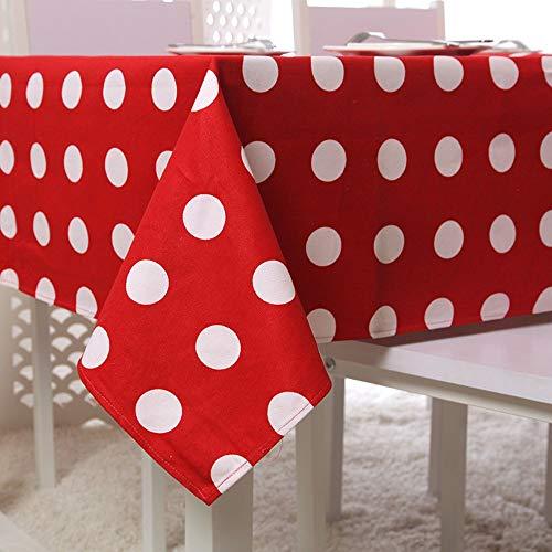 LETAMG Tischdecke Tischwäsche Baumwolle Dicke Leinwand Roter Punkt Polka Dot Tischdecke Couchtisch Tischdecke Tischdecke, 90 * 90Cm (Tischdecke Polka Rot Dot)