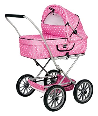 Brio 24890131 - Cochecito para muñecas plegable con cuco extraíble en color rosa de BRIO