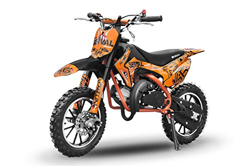 Dirtbike Serval 49cc Crossbike Pocketbike Bike Pocketquad Drossel Kinderbike Kinderfahrzeu (Orange)